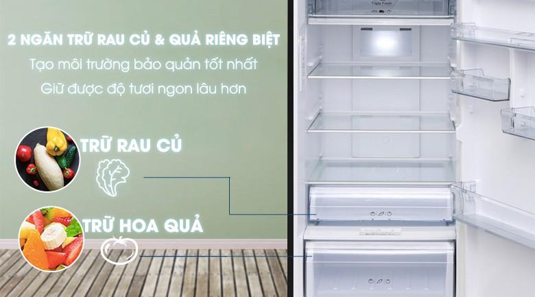 Ngăn rau củ và ngăn trái cây riêng biệt - Tủ lạnh Aqua Inverter 373 lít AQR-IG386DN GBN