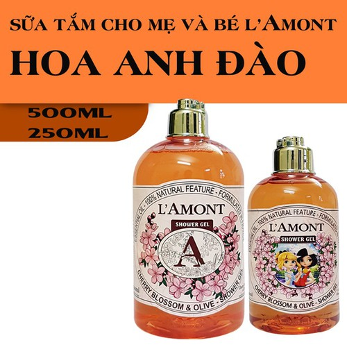 Combo Sữa Tắm Cho Mẹ 500ml và Bé 250ml LAmont En Provence Hương Hoa Anh Đào
