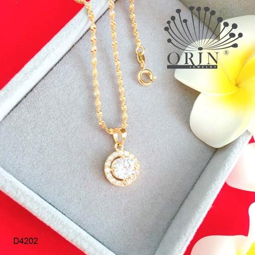 Dây chuyền nữ dạng xoắn mặt đá tròn viền đính đá thiết kế bền màu cao cấp Orin D4202