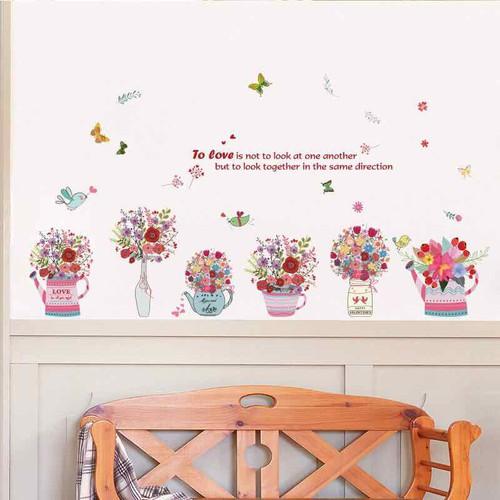 Decal dán tường lọ hoa đẹp trang trí