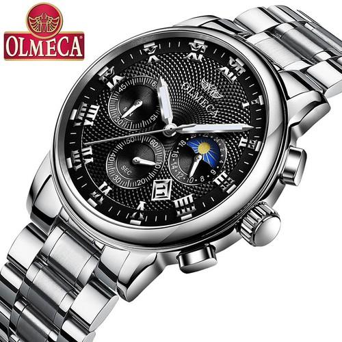 Đồng hồ nam OLMECA 852 dây thép đúc mặt vân sọc hiện đại chạy 6 kim kèm lịch OL8520