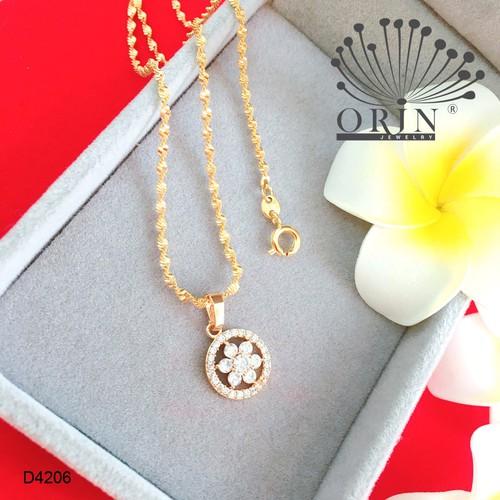 Dây chuyền nữ dạng xoắn mặt tròn hoa mai nhỏ đính đá thiết kế bền màu cao cấp Orin D4206