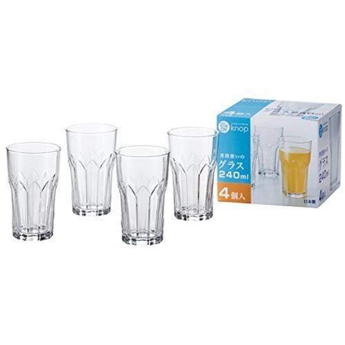 Set 4 cốc thủy tinh 240ml họa tiết pha lê Nhật Bản
