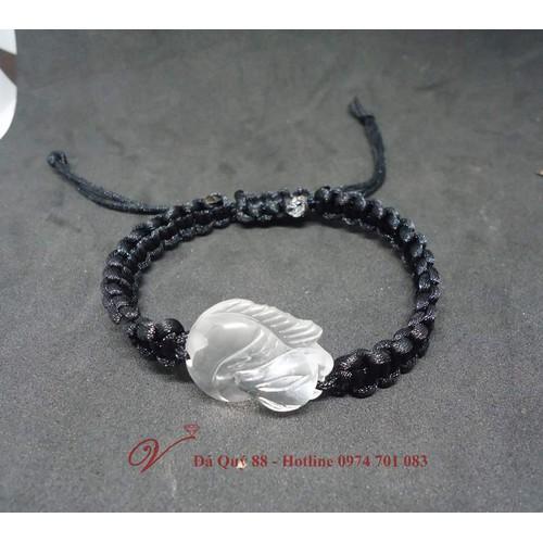 Vòng tay hồ ly 9 đuôi đá thạch anh trắng thiên nhiên loại đẹp