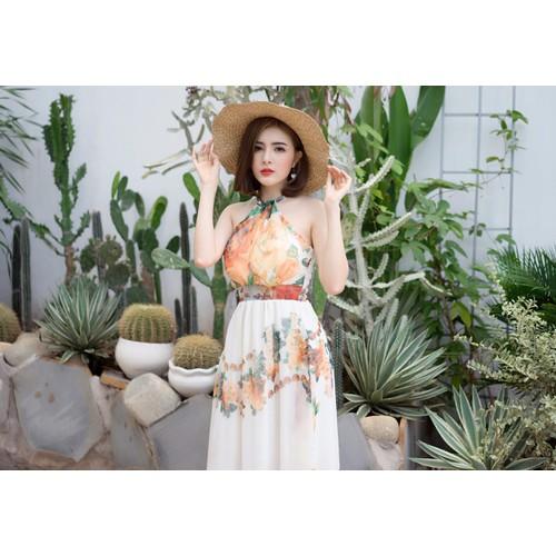 Đầm maxi kiểu cổ yếm hoa cam sang trọng