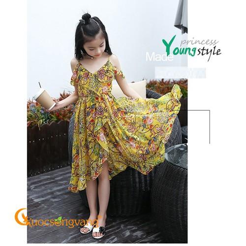 Váy đầm thiếu nữ in hoa váy đầm kiểu hoa hai lớp GLV094