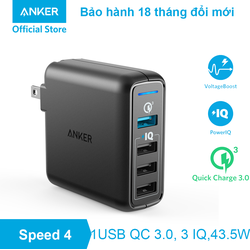 Sạc ANKER PowerPort Speed 4 , 43.5w, 1 cổng Quick Charge 3.0 - A2040 - Đen