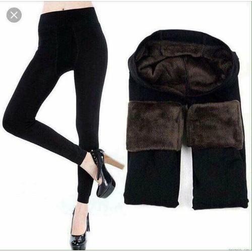Quần tất lót lông nữ đen túi hồng