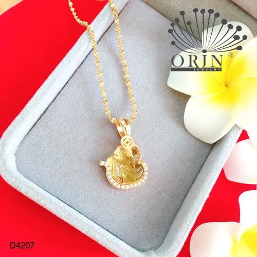 Dây chuyền nữ dạng xoắn mặt hồ ly đá vàng đính đá thiết kế bền màu cao cấp Orin D4207