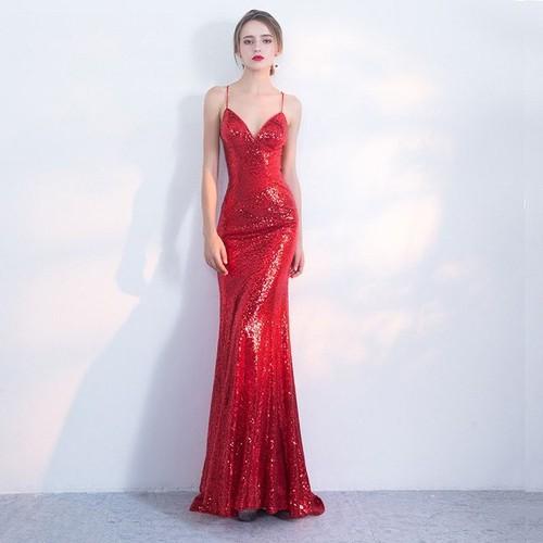 Đầm dạ hội kim sa đỏ cúp ngực ôm body tôn dáng