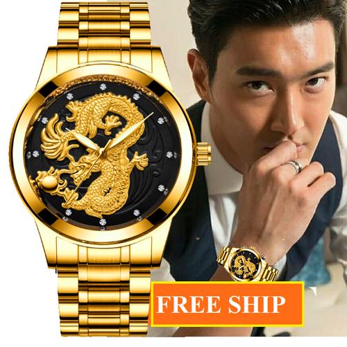 Đồng hồ nam mặt rồng  vàng chính hãng tặng vòng tỳ hưu