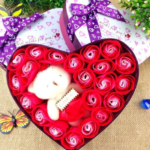 Hộp Quà Tặng - Hộp quà bông hồng + gấu | hộp quà sinh nhật