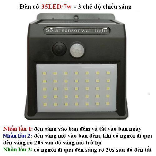 HCM- Đèn năng lượng mặt trời 3 chế độ chiếu sáng 35 bóng led-7W