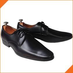 [SALE XẢ KHO] Giày tây nam cột dây trơn đen đế cao 3 cm mũi nhọn