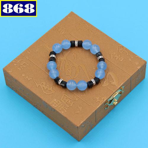 Chuỗi đá mắt mèo xanh 12 ly FTHXE35 hộp gỗ