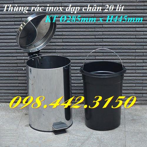 Thùng rác inox đạp chân 20L - 6853631 , 13570359 , 15_13570359 , 399000 , Thung-rac-inox-dap-chan-20L-15_13570359 , sendo.vn , Thùng rác inox đạp chân 20L