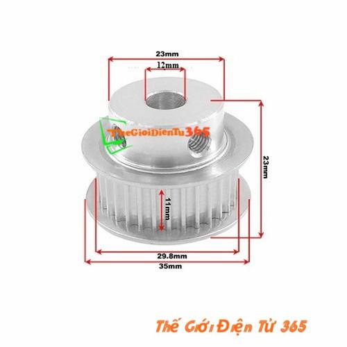 Pulley Bánh Răng Nhôm 20 Răng-XL-12mm