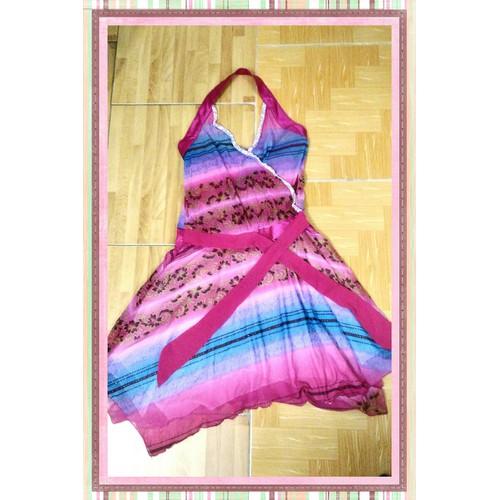 Thanh lý Đầm thun lạnh tông màu hồng cổ yếm