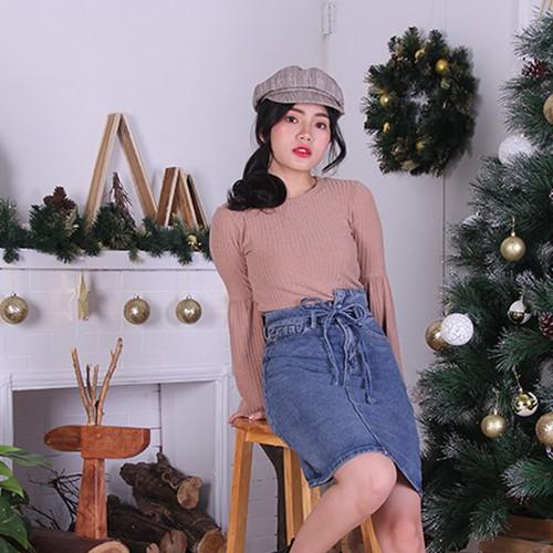Chân Váy Jean Cột Nơ Eo Namu