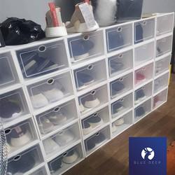 Hộp Đựng Giày Nắp Nhựa Cứng Trong Suốt Viền Trắng - Size Nam - Chịu Nặng 4kg - BLUE DEER