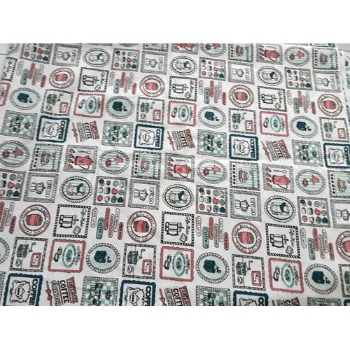 Khăn trải bàn chống thấm họa tiết coffee khổ 60cm x 60cm