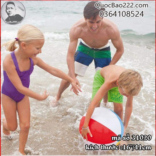 Bóng bãi biển sọc trắng đỏ vàng 41cm  - Bestway 31020