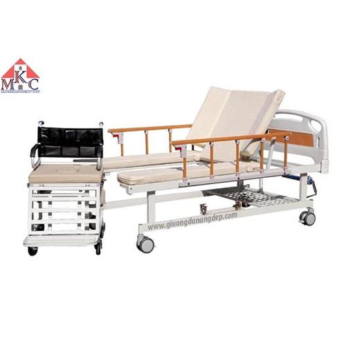 Giường bệnh đa năng MKC tách thành xe lăn điều khiển bằng tay quay 6 chức năng