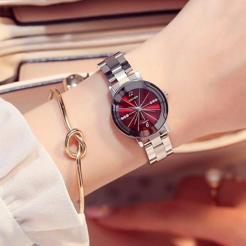 Đồng hồ nữ POLLOCK P1120 dây thép số đính đá độc đáo