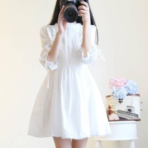 Đầm Babydoll Trắng Tay Nơ - Kèm Hình Thật