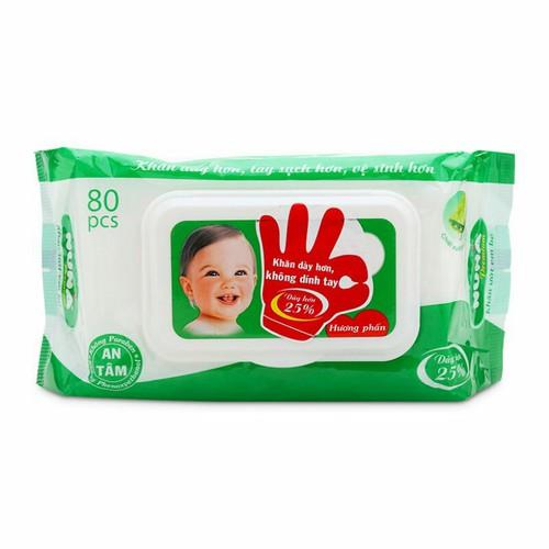 combo 10 khăn giấy ướt Nuna hương phấn loại dày 80 tờ
