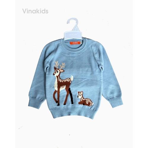 Áo len bé gái thêu hươu màu xanh Vinakids 33990073