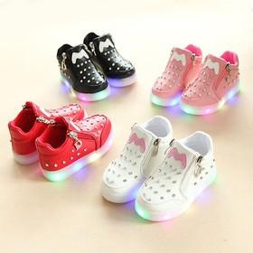 giày bé gái đính đá có đèn hình nơ phong cách Hàn Quốc size 21-30 - GD09