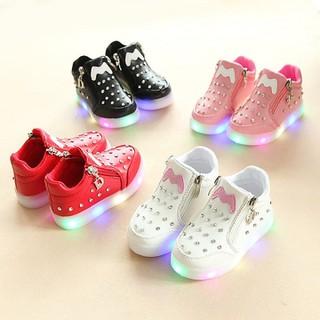 giày bé gái đính đá có đèn hình nơ phong cách Hàn Quốc size 21-30 - GD09 thumbnail