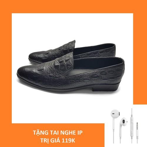 Giày Lười Nam Da Bò Vân Cá Sấu The Shoes House E034DST Đen