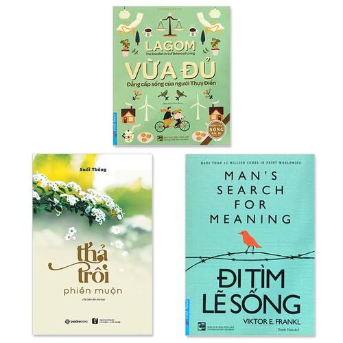 Combo 3 cuốn sách: Lagom - Vừa Đủ - Đẳng Cấp Sống Của Người Thụy Điển + Thả Trôi Phiền Muộn + Đi Tìm Lẽ Sống