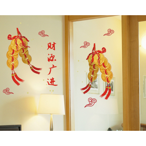 Decal trang trí tết Dây Đông Tiền Xu Vàng