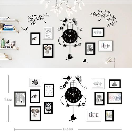 Đồng hồ treo tường trang trí nhà cửa tặng kèm 12 khung ảnh