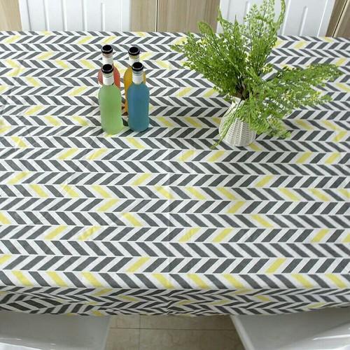 Khăn trải bàn chống thấm họa tiết sọc xám vàng khổ 90cm x 90cm