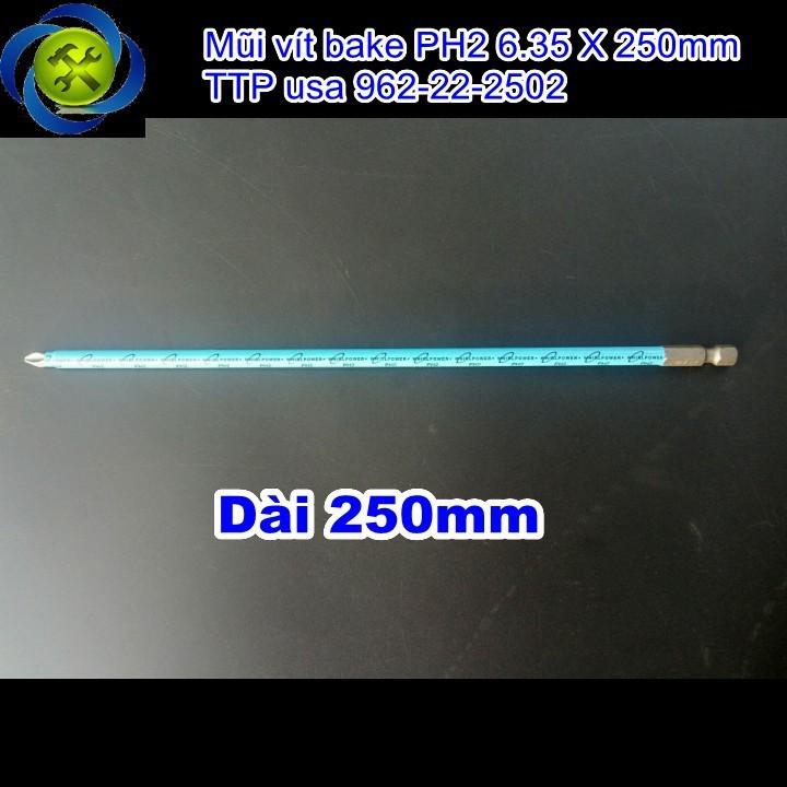 Mũi vít bake PH2 6.35 X 250mm TTP usa 962-22-2502 1
