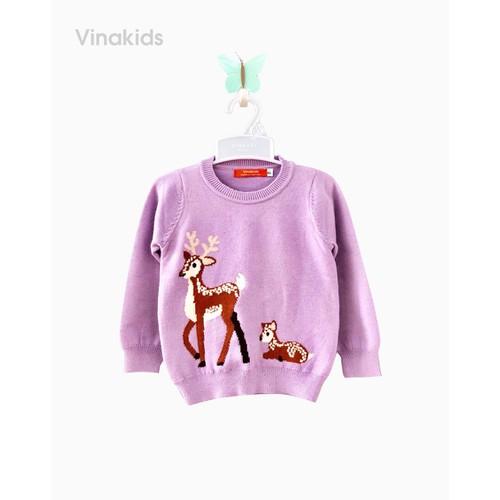 Áo len bé gái thêu hươu màu tím Vinakids 339900733