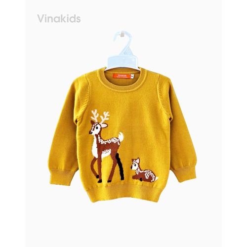 Áo len bé gái thêu hươu màu vàng Vinakids 339900734