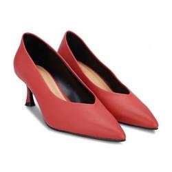Giày cao gót bít mũi khoét mũi chữ V S30039 Đỏ Girlie