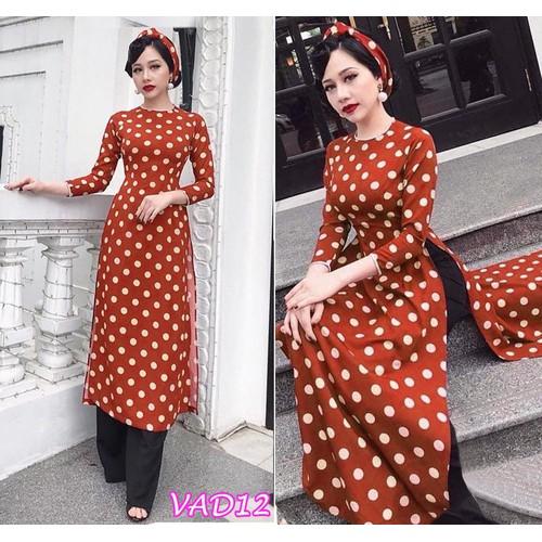 Set áo dài chấm bi+ quần dài kèm khăn Turban VAD12 - V195