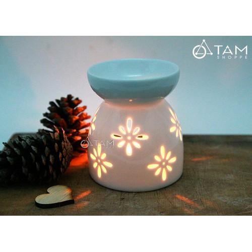 Đèn đốt tinh dầu bằng nến Gốm trắng hoa mai cao 9cm số 22
