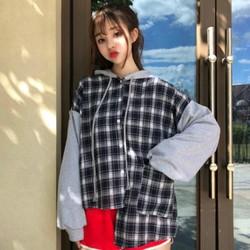 áo khoác flannel phối nón Mã: AO3580 - XANH