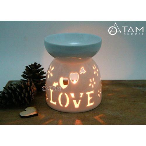 Đèn đốt tinh dầu bằng nến Gốm trắng họa tiết sao cao 12cm số 19