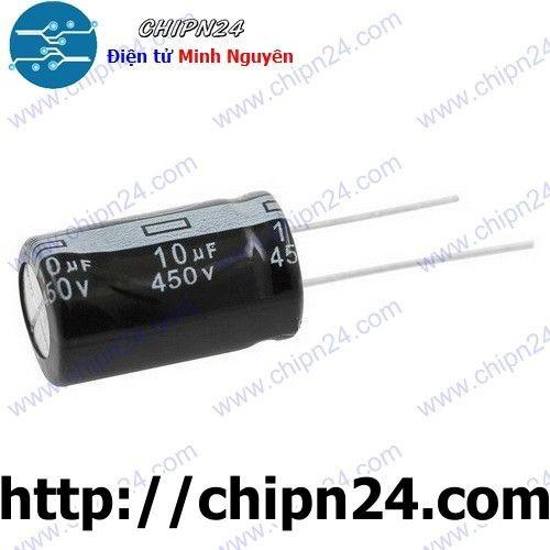 [10 CON] Tụ hóa 10uF 450V đen 13x21mm