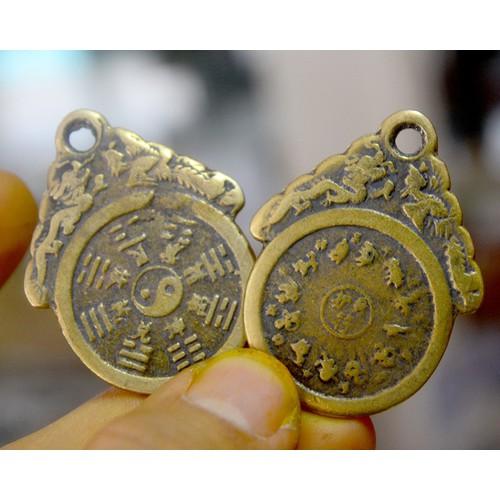 Bộ hai đồng tiền xu cổ bát quái rồng phượng phong thủy bằng đồng-Bỏ ví chiêu tài lộc-Cỡ 3cm
