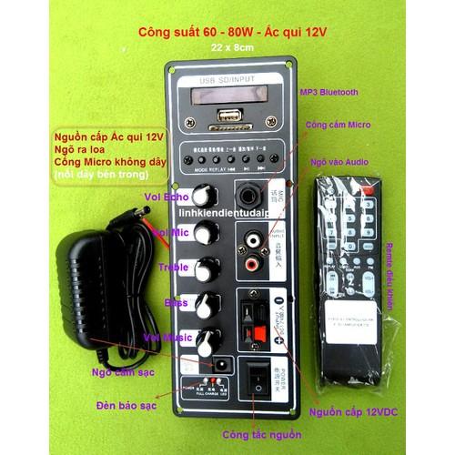 Bảng mạch loa kéo Mono 150W - 180W dùng bình ắc qui 12V