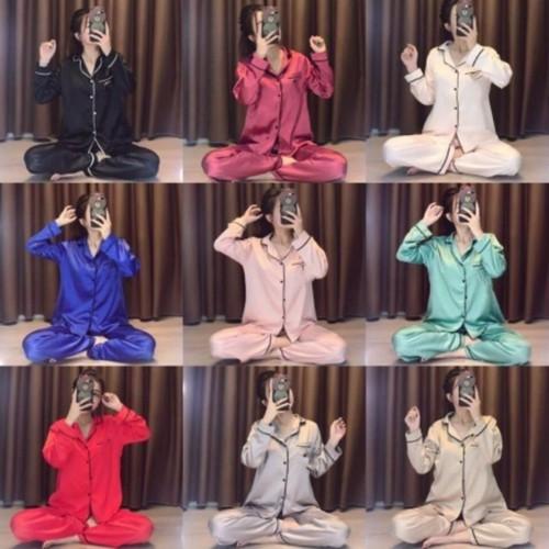 Bộ pijama lụa satin tay dài cực xinh - Hàng loại 1